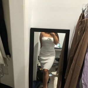 Dresses & Skirts - White Ribbed Knit Strapless Dress worn once Small
